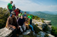 Hawksbill Mountain, NC -- seated, left to right: Jose Arroyo, Bill Hodge, SAWS Crew Leader Bobby Berry, John Castaneda; standing, L to R: Roger Osorio, Jeffrey Jones, Rasaq Balogun, Leon Gibbs (seated behind), Kwaku Kodua, SAWS Crew Leader Xenia Pantos, Curt Collier
