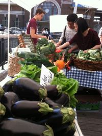 Customers admire the produce selection at the Get Fresh Yonkers Farmers Market